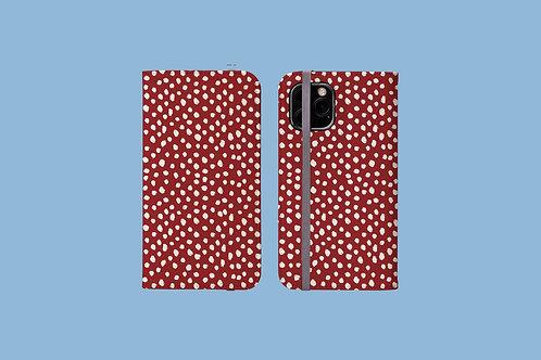 White Dawbs on Dark Red iPhone Folio Wallet Case