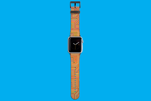 Circuit Board Tan Apple Watch Strap