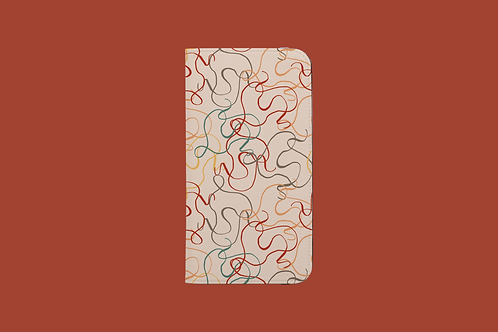 Earth Tone Squiggles iPhone Folio Wallet Case