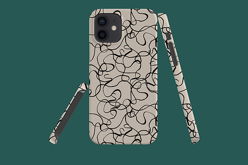 Black and White Squiggles iPhone Case