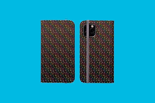 Rainbow Stars on Dark Gradient iPhone Folio Wallet Case