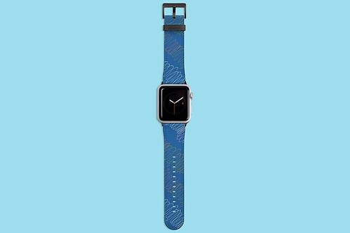 Colourful Spirals on Blue Apple Watch Strap