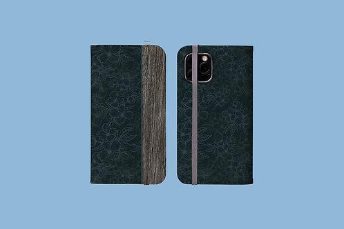 Driftwood Dark Flower Outlines iPhone Folio Wallet Case
