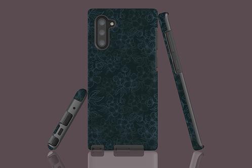 Black Flower Outlines on Dark Green Samsung Galaxy Case