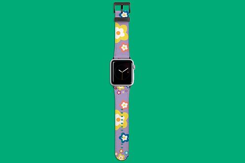 Colourful Flowers on Purple Apple Watch Strap