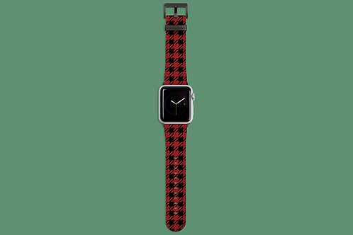 Red and Black Houndstooth Apple Watch Strap