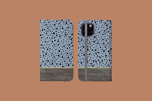 Driftwood Spotty Blue iPhone Folio Wallet Case