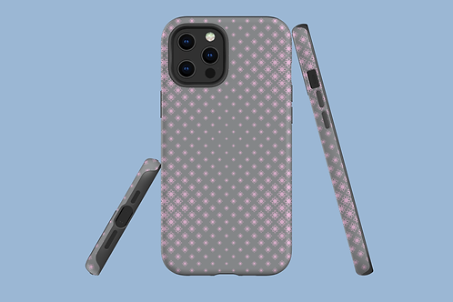 Pink and Grey Floral Geometric iPhone Case