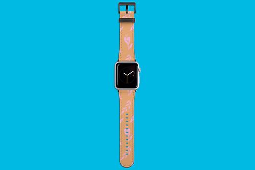 Pink Flower Pattern Apple Watch Strap