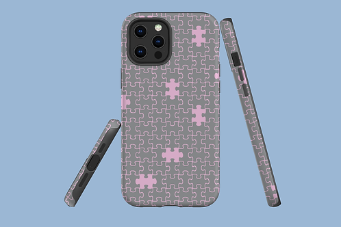 Pink and Grey Jigsaw iPhone Case