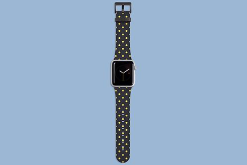 Yellow Polka Dots on Polar Night Apple Watch Strap
