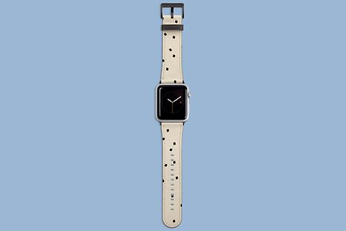Tiny Black Squares on Cream Apple Watch Strap