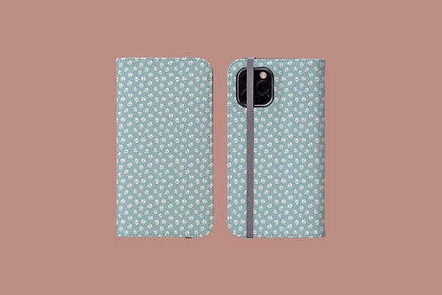 Abstract White Roses on Icy Blue iPhone Folio Wallet Case