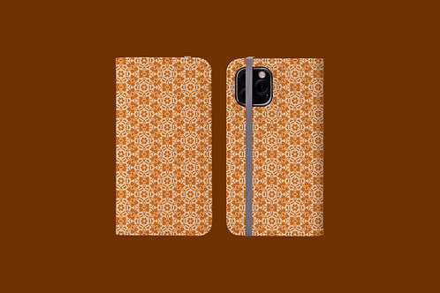 Nude and Light Tan Flowers iPhone Folio Wallet Case