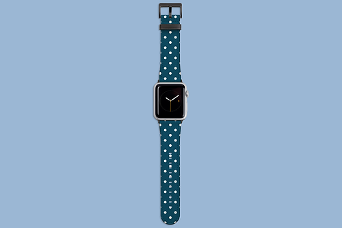 Petrol and White Polka Dots Apple Watch Strap