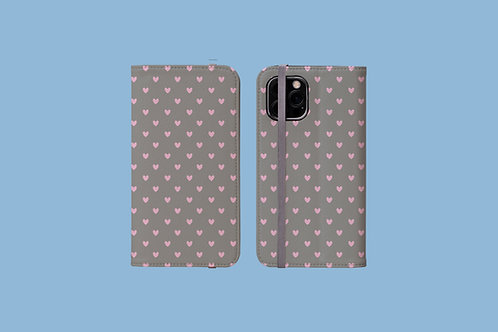 Pink Hearts on Grey iPhone Folio Wallet Case