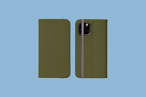 Moss Green Solid Colour iPhone Folio Wallet Case