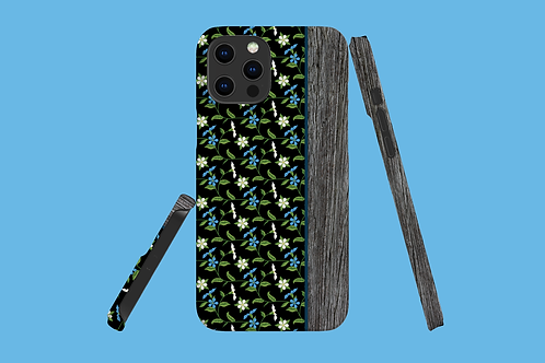 Driftwood Blue Flower Vines iPhone Case