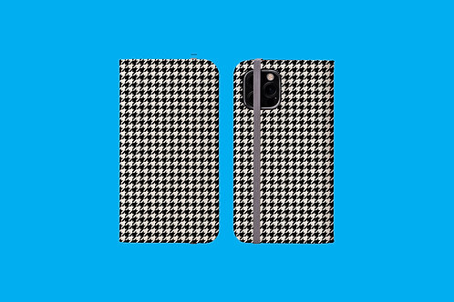 Black and White Houndstooth iPhone Folio Wallet Case