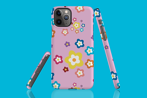 Colourful Flowers on Pink iPhone Case