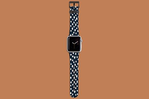 White Dawbs on Navy Blue Apple Watch Strap