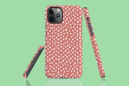 White Dawbs on Coral iPhone Case