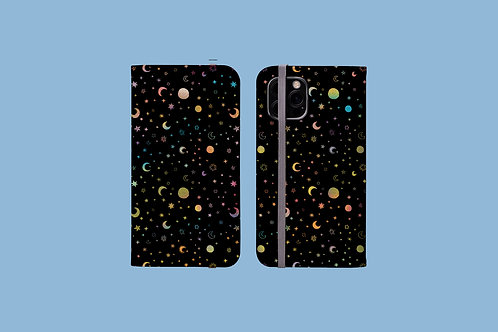 Moons and Stars iPhone Folio Wallet Case