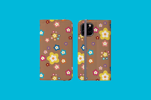 Colourful Flowers on Coffee iPhone Folio Wallet Case