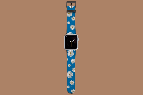 Daisies on Blue Apple Watch Strap