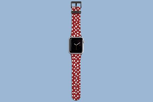 White Dawbs on Dark Red Apple Watch Strap