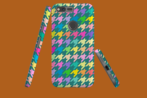 Pastel Rainbow and Green Houndstooth Google Pixel Case