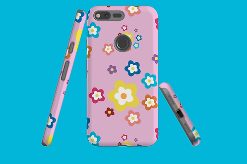 Colourful Flowers on Pink Google Pixel Case