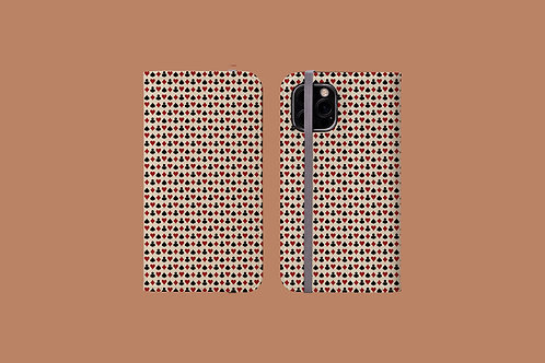 Playing Card Suits on Beige iPhone Folio Wallet Case
