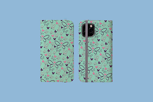Pink and Purple Butterflies iPhone Folio Wallet Case