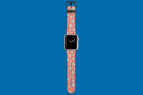 Daisies on Coral Apple Watch Strap