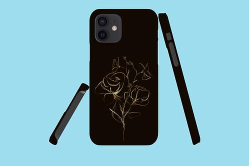 Gold Flower Sketch iPhone Case