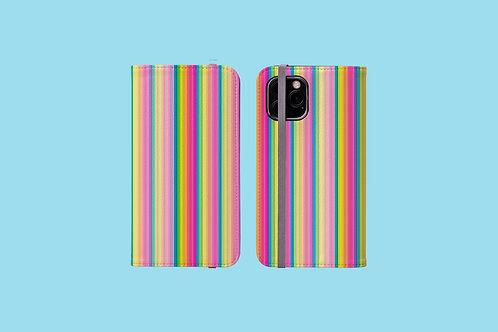 Pastel Rainbow Stripes iPhone Folio Wallet Case