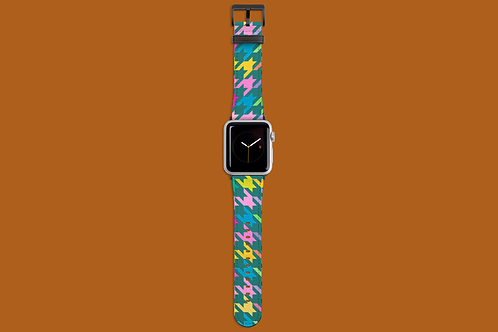Pastel Rainbow and Green Houndstooth Apple Watch Strap