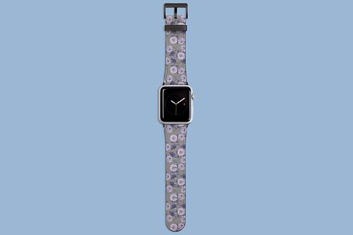 Purple Flowers on Grey Apple Watch Strap
