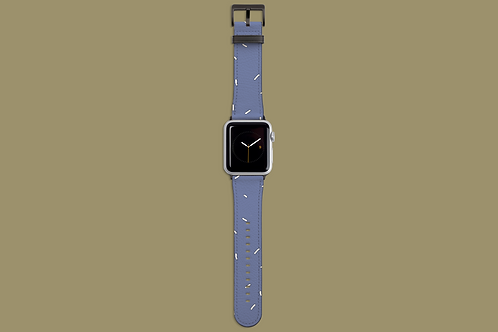 White Sprinkles on Blue Apple Watch Strap