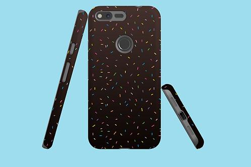 Rainbow Sprinkles on Dark Gradient Google Pixel Case