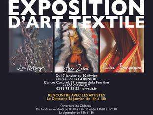 Exposition d'Art Textile, Anne Zerna, Pauline Bourguignon, Liza Metzinger à Orvault du 17 janvie
