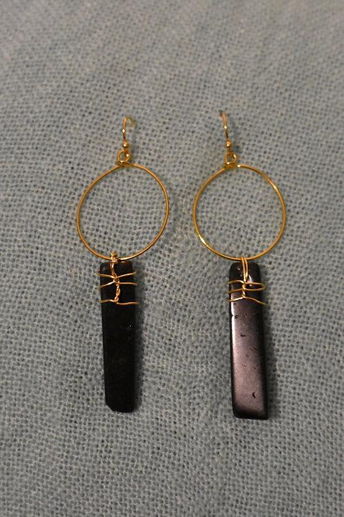 Black Tourmaline Wrap Earrings