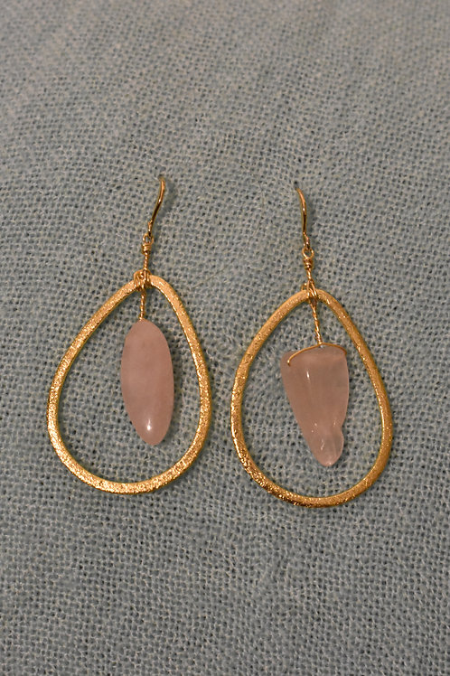 Rose Quartz Earrings - Teardrop