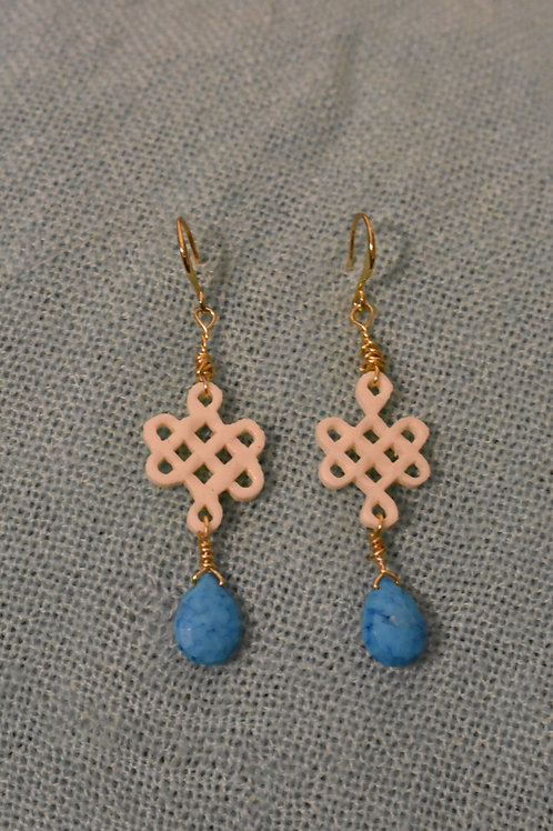 Turquoise Gridwork Earrings