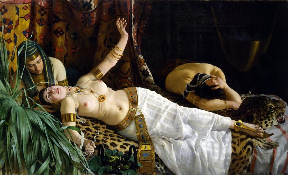 """""""La muerte de Cleopatra"""" de Achille Gisenti (1878). Fuente: www.telemundo33.com"""