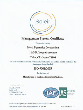 Soleir ISO 9001-2015 Certification Image