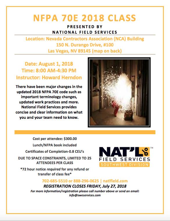 NFPA 70E 2018 Training Class-Las Vegas, NV - 8-1-18