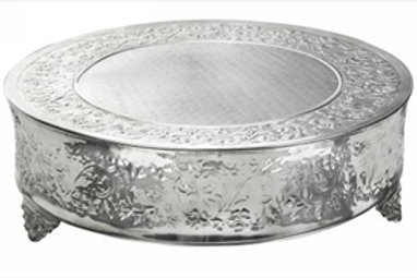 "20"" Silver Round Cake Stand with Design"