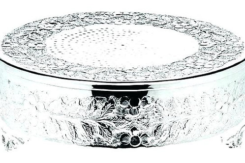 "22"" Silver Round Cake Stand with Leaf Design"